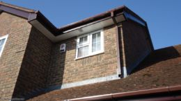 Rosewood fascia with white soffit full replacement