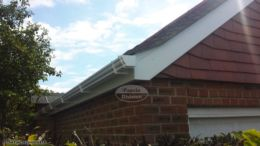 White UPVC ogee guttering with white fascia and soffit
