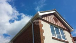 White fascia and soffit, white ogee guttering