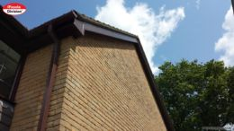 Woodgrain fascias soffits brown square guttering installation