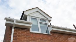 White fascia, soffit and guttering replacement